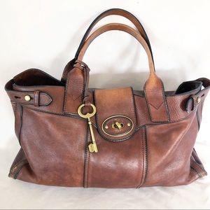 Fossil large brown leather shoulder bag satchel